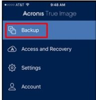 Acronis True Image Backup iPhone or iPad data