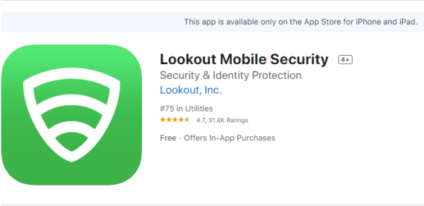 Lookout Mobile Security for iOS