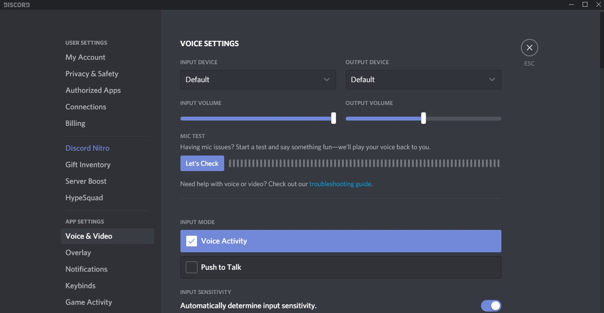 Discord Voice Settings Tab