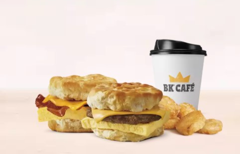 Burger King Breakfast Hashbrowns Coffee Biscuit Sandwich