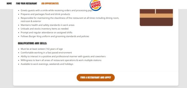 Burger King Find A Restaurant and Apply Button