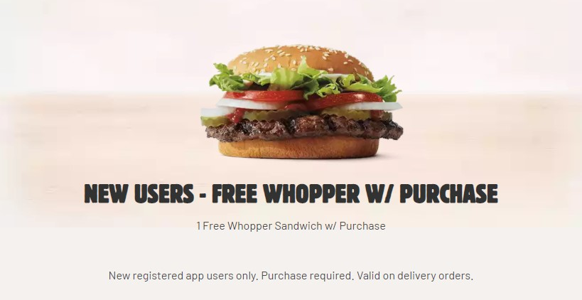 Burger King New Users Free Whopper